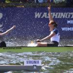 The UW women's crew team, right, won its eighth straight Windermere Cup race with a flourish, overcoming a boat-length deficit early to win by more than three seconds. -Source: John Lok/The Seattle Times